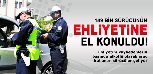 149 bin sürücünün ehliyetine el konuldu