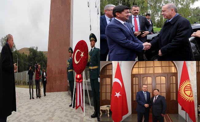 Erdoğan, Kırgızistan'ın başkenti Bişkek'te resmî temaslarını sürdürdü