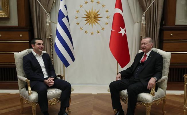 Aleksis Çipras'ı Cumhurbaşkanlığı Külliyesinde kabul etti.