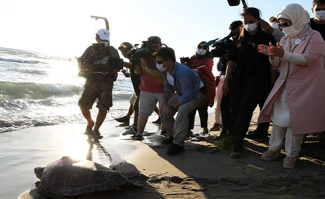 Emine Erdoğan, Kaplumbağaları Koruma ve İzleme Programı'na katıldı