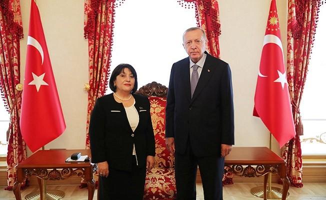 Cumhurbaşkanı Erdoğan, Azerbaycan Milli Meclisi Başkanı Gafarova'yı kabul etti