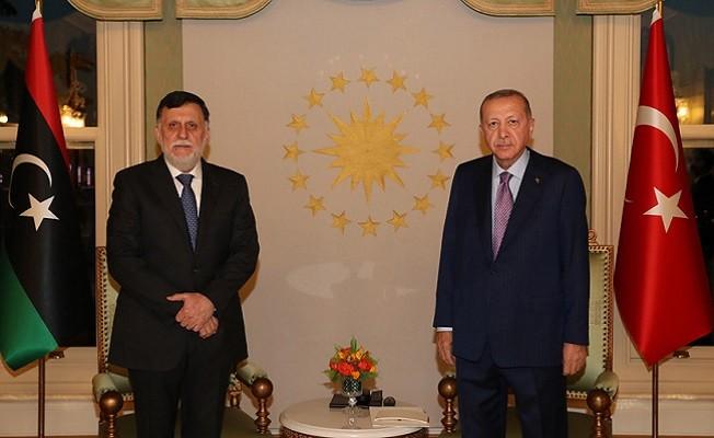 Cumhurbaşkanı Erdoğan, Serrac ile Libya'yı görüştü