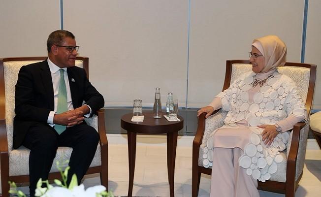 Emine Erdoğan, İklim Değişikliği 26. Taraflar Konferansı Başkanı Alok Sharma ile görüştü
