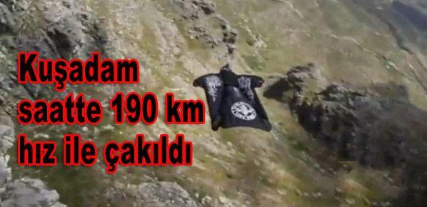 Kuşadam Jeb Corliss saatte 190 km hız ile çakıldı