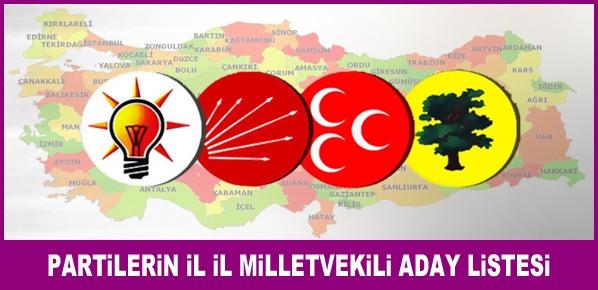 Partilerin il il milletvekili aday listesi