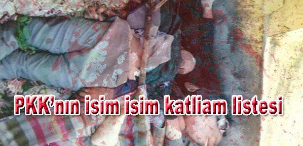 PKK'nın isim isim katliam listesi