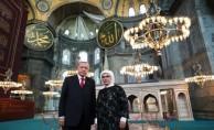 Erdoğan, Ayasofya-i Kebir Cami-i Şerifi'nde incelemelerde bulundu